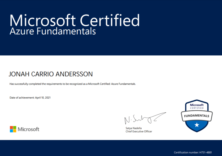 AZ900 Azure Fundamentals Certificate of Jonah Anderssion