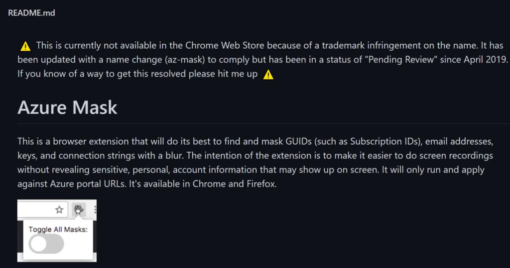 Azure Mask Web Plugin Disclaimer Info