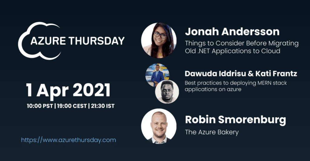 Jonah Andersson on AzureThursday April 2021 Things to Consider moving to cloud