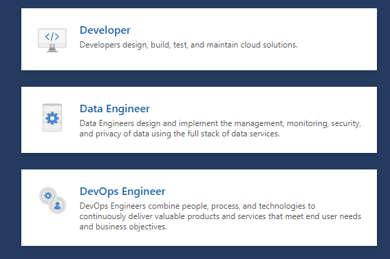 Microsoft Certifications for different technical roles