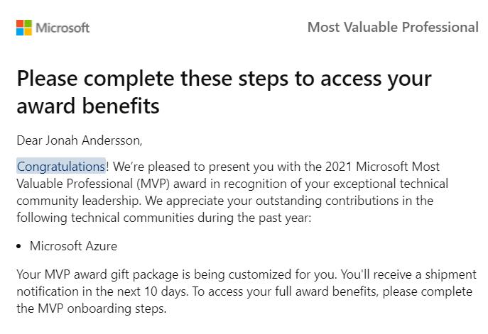 Microsoft Azure MVP Award Email