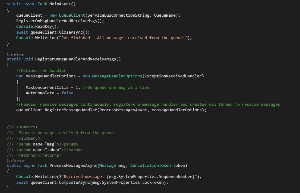 Azure Service Bus Queue Code Sample  for Receiver